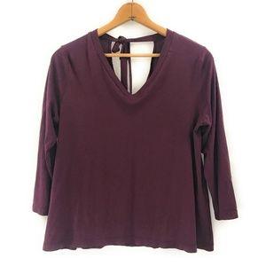LOFT Womens Plum Long Sleeve Blouse Top, XL